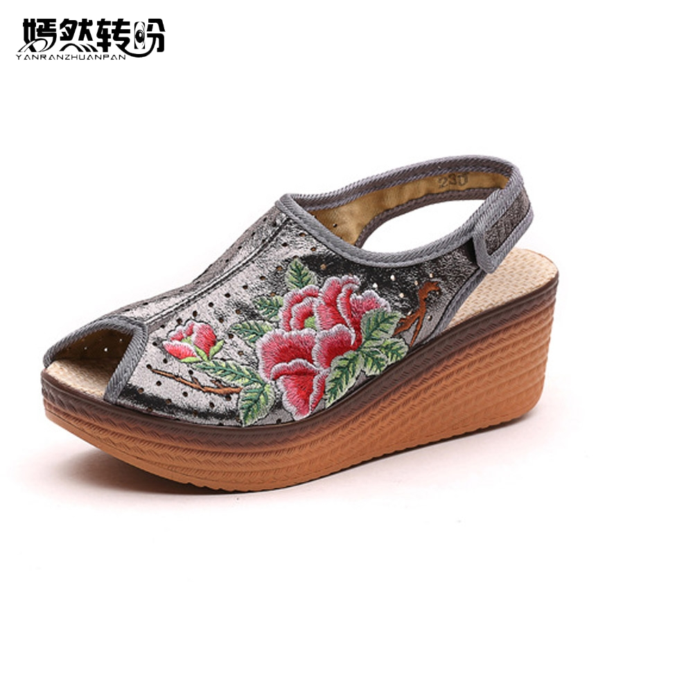 Women Sandals Shiny Leather Peep Toe Chinese Vintage Floral Embroidered Wedges Platform Travel Shoes For Woman Zapatos Mujer summer shoes woman platform sandals women soft leather casual peep toe gladiator wedges women 7cm high heel shoes zapatos mujer