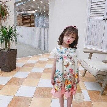חדש מתוק בנות קיץ שמלה פרחוני דפוס בוטיק תינוק בנות קיץ בגדים פעוט בנות שמלה