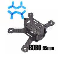 BOBO 95mm 95 Cadre En Fiber De Carbone Kit Mini Lumière Pour Intérieur Intérieur RC FPV Croix Racing Drone Quadcopter 2 «hélice +