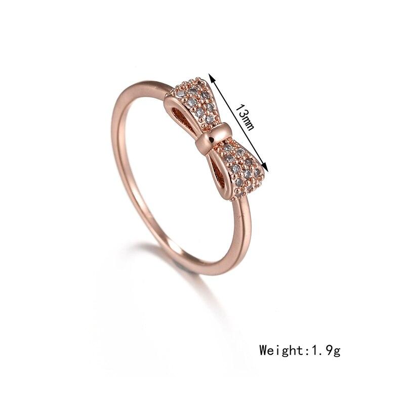 Misscycy Sparkling Rhinestone Bowknot Ring Micro Pave Crystal Rings