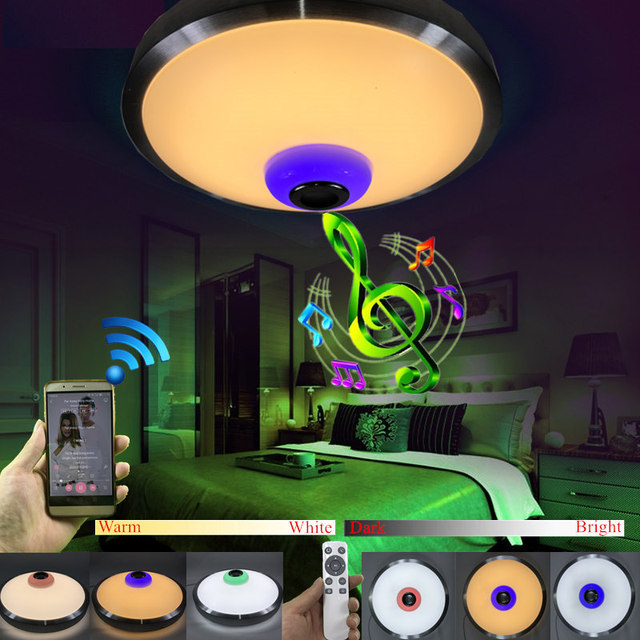 LED Ceiling Light With Bluetooth speaker 12W 18W Music Playing Ceiling Lamp Party Lamp Deco Bedroom Lighting Music Audio Fixture