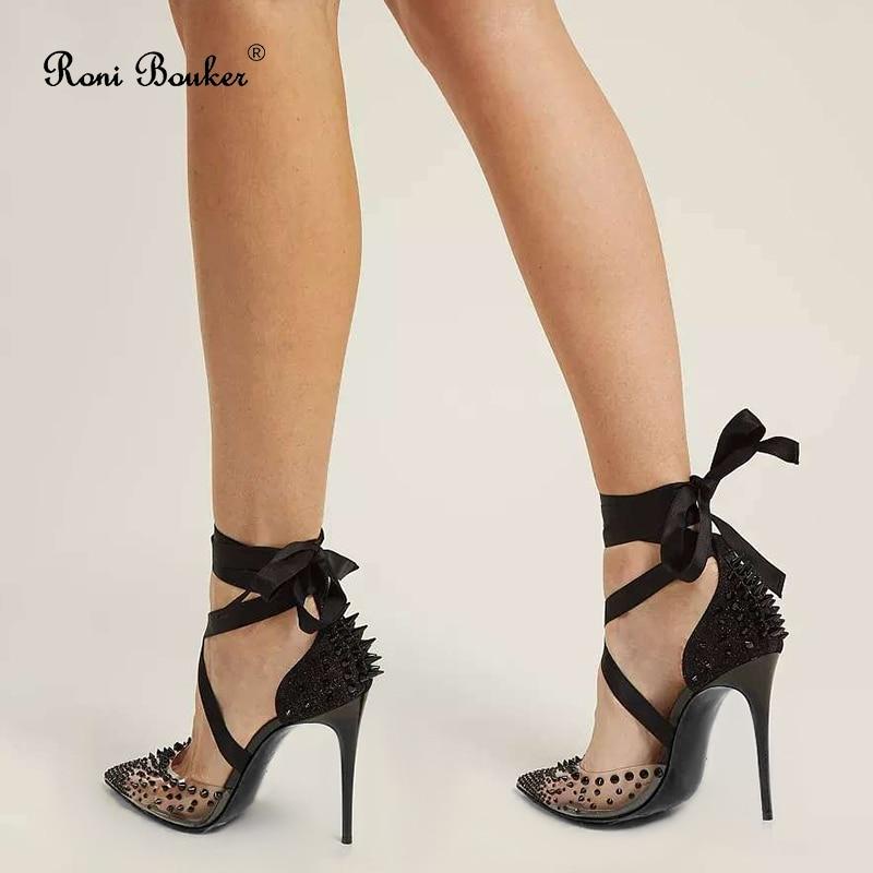 Roni Bouker Women's Luxury High Heels Women Fashion Shoes Black Lace Up Woman Heel Spikes Pumps Glitter Wedding Shoe Dropship