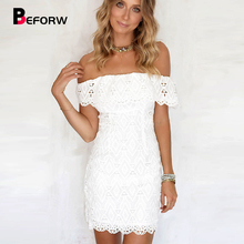BEFORW 2019 Women Summer Lace White Dress Elegant Off Shoulder Bodycon Dress Vestidos Sexy Slash Neck Mini Party Dresses Woman