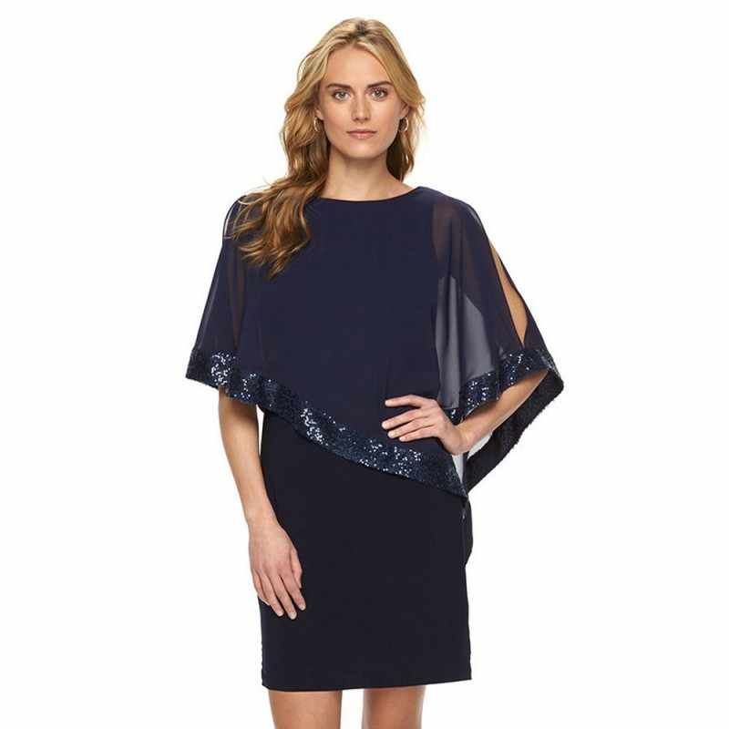 5bf305eccfe Ladies Sexy Stitching Sequin Half Sleeve Dress Plus Size Solid Color Round  Neck Newest Gift Party