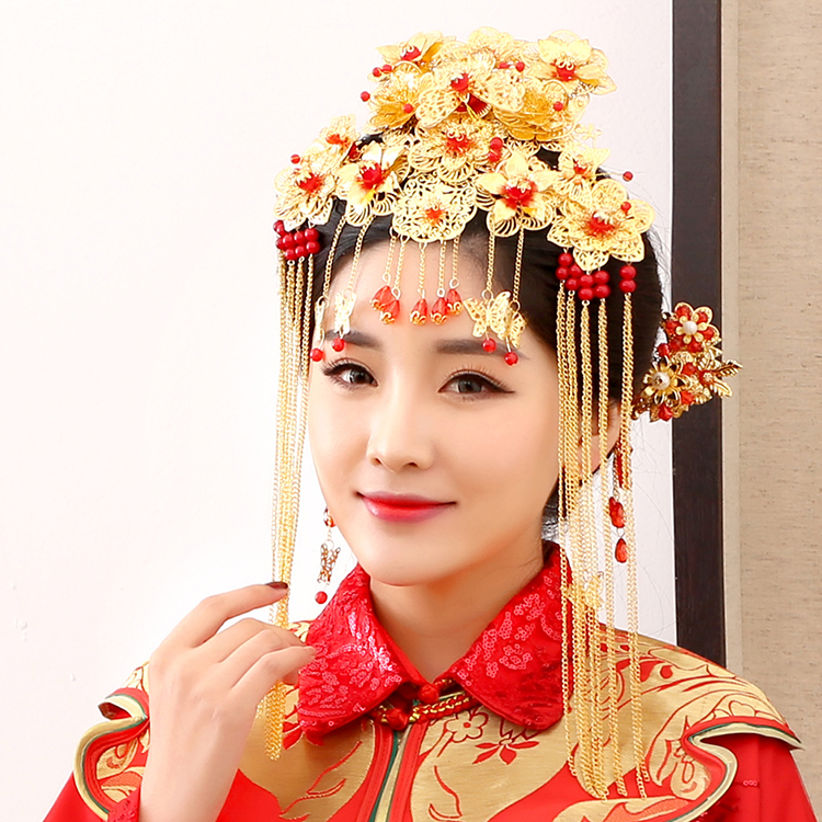 Jian Jia Traditional Chinese Wedding Bride Hair Tiaras for Xiuhefu Hair Accessory Set for Costume 03 red gold bride wedding hair tiaras ancient chinese empress hat bride hair piece