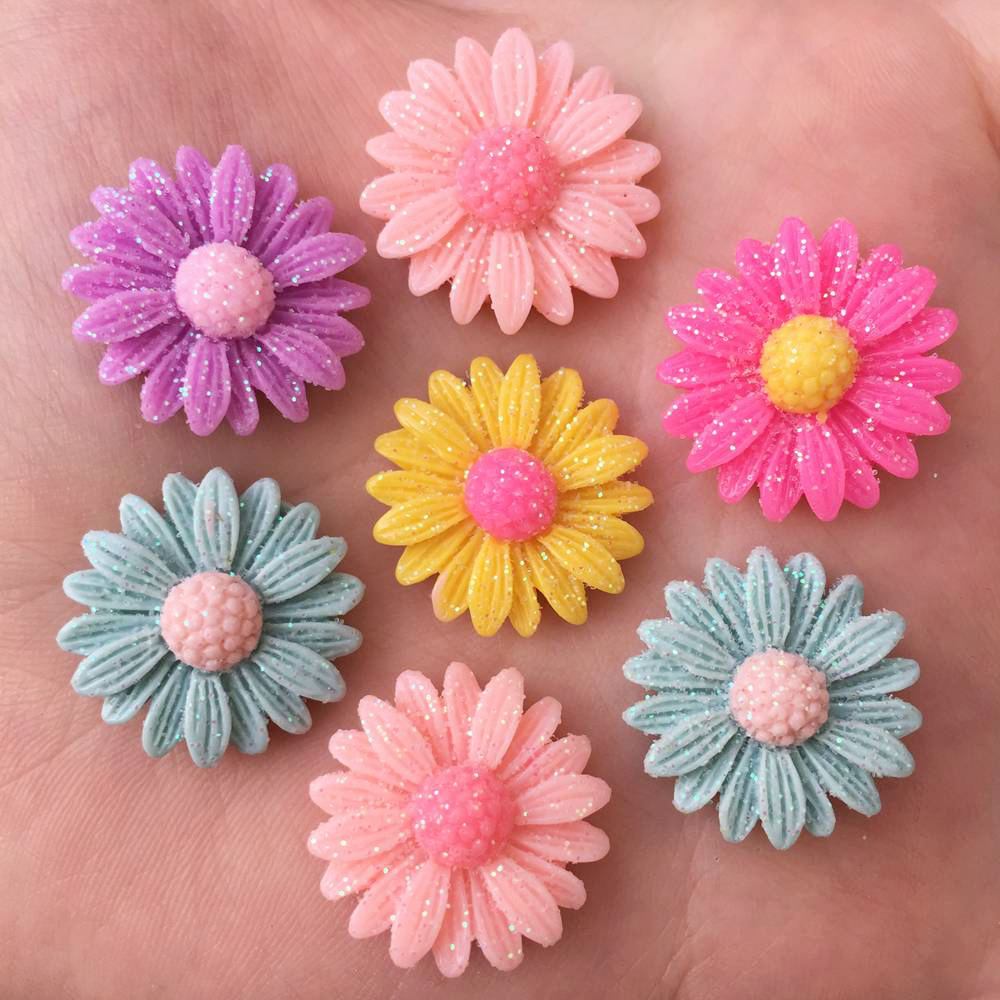 New 20pcs Resin 20mm Gold Powder Daisy Flatback Stone Scrapbooks Wedding DIY R89*2