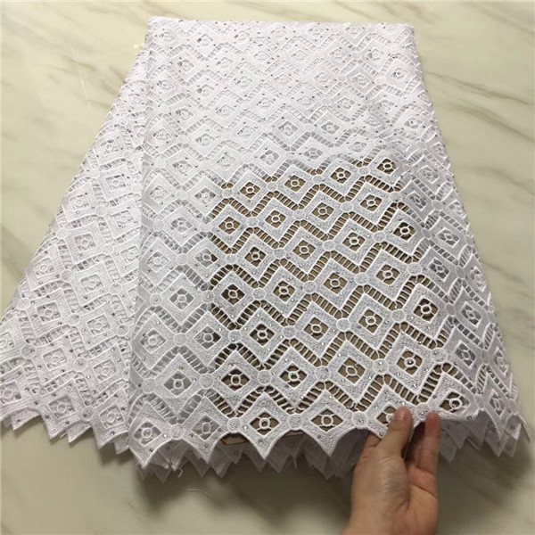 Hot sales lace fabric high quality latest African White cord lace With stones fabric for Party