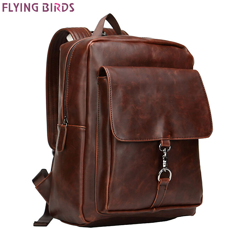 ФОТО FLYING BIRDS! men backpack leather school bags men's travel bags rucksack 2016 fashion Daily backpack designer men bag LM3175fb