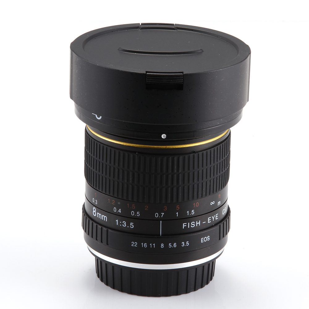 8mm f/3.5 Fisheye Lens Super Groothoek voor Canon 5D Mark III II 3 7D 6D 70D 60D 550D 650D 700D-in Camcorder Lenzen van Consumentenelektronica op  Groep 1