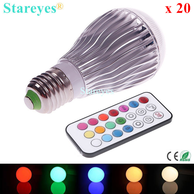 Free shipping 20 pcs 550LM RGB led lighting Colorful 9W E27 B22 GU10 RGB LED lamp light with 24 key Remote Control RGB bulb free shipping remote control colorful modern minimalist led pyramid light of decoration led night lamp for christmas gifts