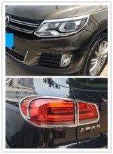 Подходит для Фольксваген Tiguan 2013 2014 2015 2016 ABS Chrome спереди и сзади фар фонарь Крышка лампы отделки автомобилей аксессуары
