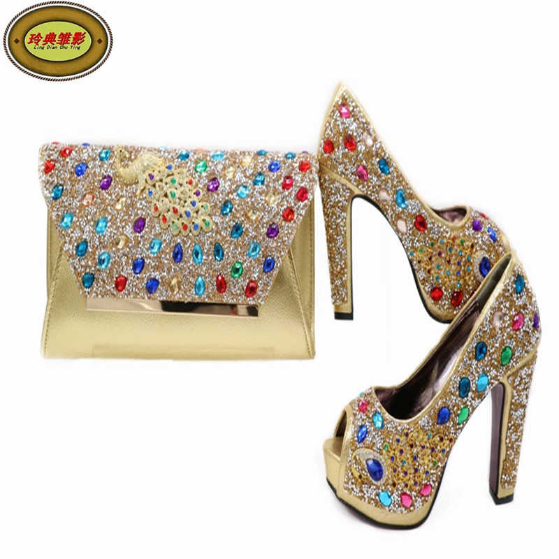 G41 Wonderful Pattern European Ladies Shoes And Bags Sets With Stone High Quality Women High Heel With Bag Sets Free Shipping 505 7 1 silver beautiful design european ladies shoes and bags sets high quality italian shoes and bag set free shipping