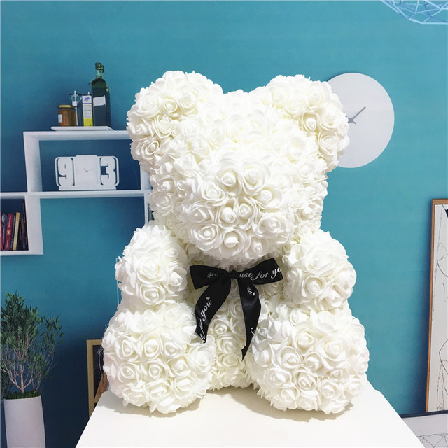 Rose Bear Doll Toy Multicolor Plastic Foam Kawaii Rose Teddy Bear Valentine Day Gift Birthday Party Decoration Toys for Girls