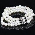 Pulseira encantos branco barroco de água doce pérolas Multistrand de China moda jóias presentes atacado