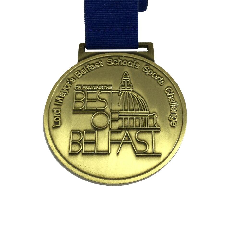 Medaille Custom Award Medaille 50.8mm (2 inch) diameter Medaille met Standaard Lint Antiek Messing of Antiek Zilver Medaille-in Non-valuta Munten van Huis & Tuin op  Groep 1