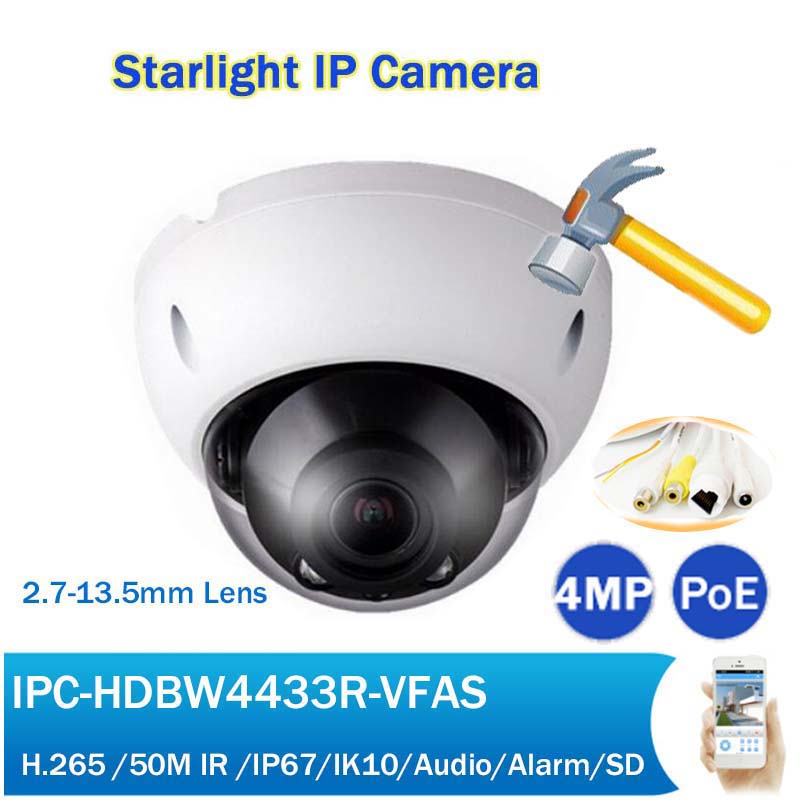 4MP Starlight IP Camera IPC-HDBW4433R-VFAS 2.7-13.5mm Manual zoom lens IR 50m POE H265 with Audio PoE IP Network Camera4MP Starlight IP Camera IPC-HDBW4433R-VFAS 2.7-13.5mm Manual zoom lens IR 50m POE H265 with Audio PoE IP Network Camera