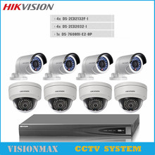 Hikvision CCTV Video Surveillance System HD 8PCS DS-2CD2032F-I POE IP 3MP Bullet Camera 8CH NVR P2P Detection Onvif Support