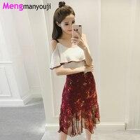 Summer 2pcs Set Women Ruffles Chiffon Blouses V Neck Off Shoulder And Floral Print Mermaid Dresses