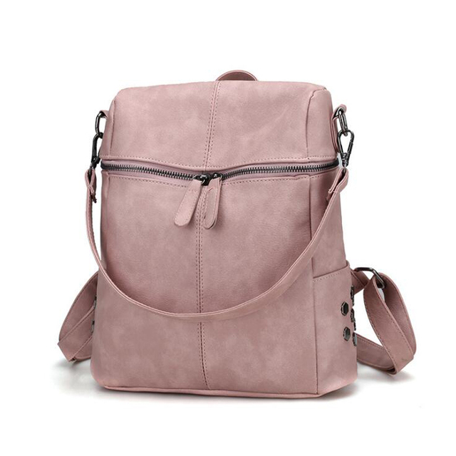 fb74ed7a4bbd 2018 Simple Style Backpack Women PU Leather Backpacks For Teenage Girls  School Bags Fashion Vintage Solid Shoulder Bag Black