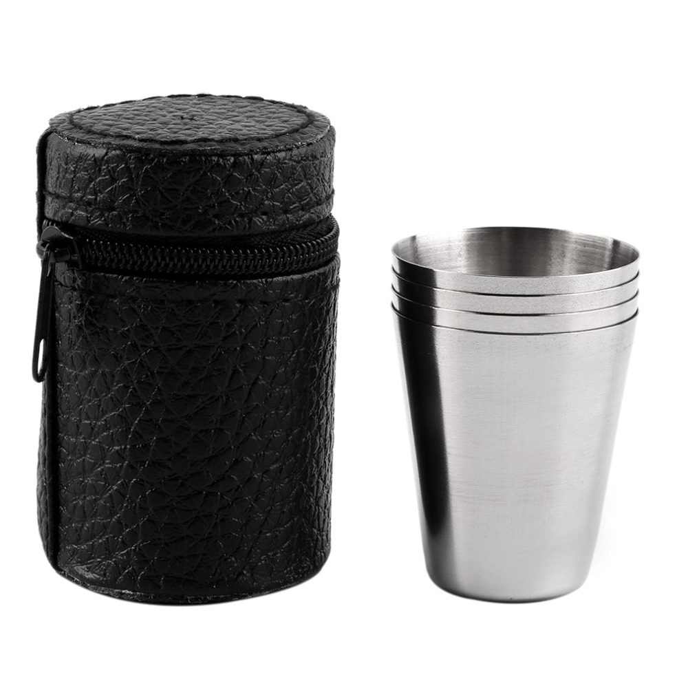 4 PC 30ML 70ML 180ML Stainless Steel Camping Cup Mug Outdoor Hiking Folding Portable Tea Coffee Beer With Black Bag