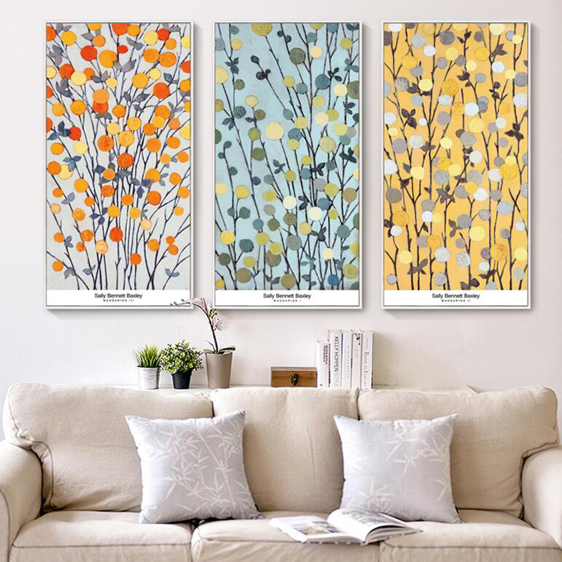 Three Color Branches Abstract Painting Reproductions 3 Piece Canvas Art  Apricot Abstract Picture canvas painting Modern-in Painting & Calligraphy  from Home ...