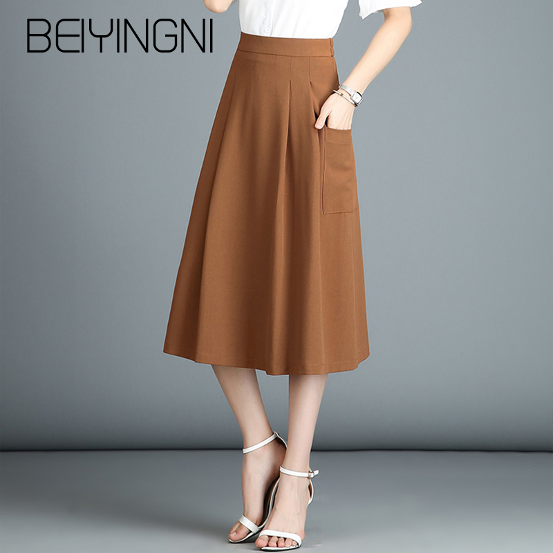 Beiyingni Plus Size Office Lady Skirts Solid Color Korean Casual A-line Skirt Women Work Wear Pocket Elegant Midi Skirts Vintage
