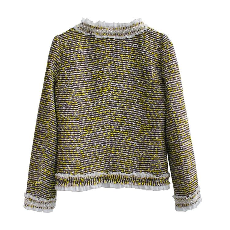 Fashion Runways Beading women O neck tweed coats New 2018 spring autumn elegant Jackets Chic OL short coat S309 in Jackets from Women 39 s Clothing