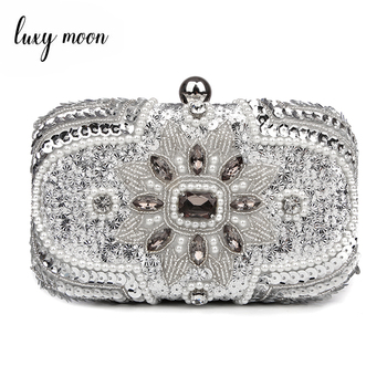New 2018 Glitter Women Beaded Clutch Silver Evening Bags With Chains Handbag Wedding Dress Bag Party Purse Banquet Package w611