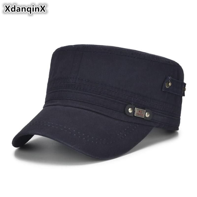 XdanqinX Adult Herren Caps verstellbare Größe flache Kappe Baumwolle Army Military Hats westlichen Stil männlichen Knochen Snapback Visier Hut NEU