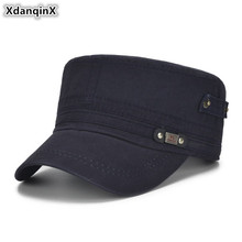 XdanqinX Adult Men's Caps Adjustable Size Flat Cap Cotton Army Military Hats Western Style Male Bone Snapback Visor Hat NEW