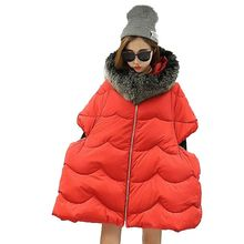 2016 Winter Women Maternity Cotton Down Jacket Female Medium long Hooded Fur collar Thicken Loose Big yards Cotton-padded G0671