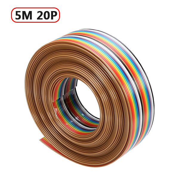 Hot Sale 5M 1.27mm 20P DuPont Cable Rainbow Flat Line Support Wire Soldered