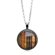 Vintage Library Time Crystal Necklace Glass Pendant Alloy Necklace Sweater Chain недорого