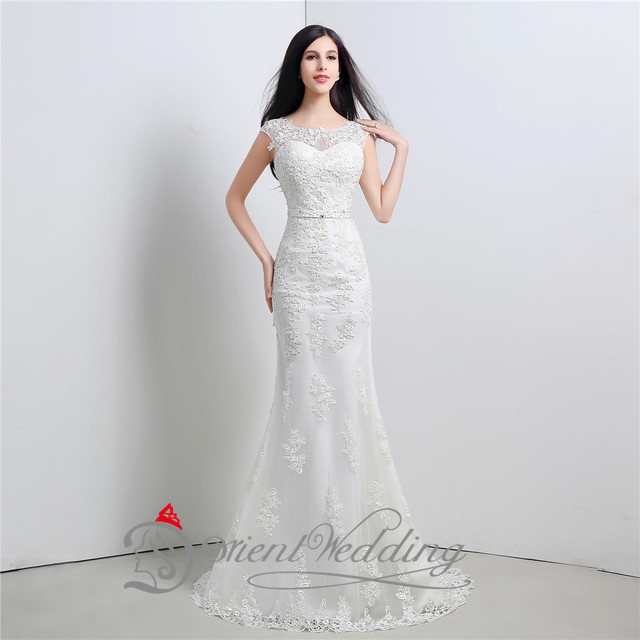 Top Qualität Illusion Neck A line Auf Lager Günstige Hochzeitskleid ...