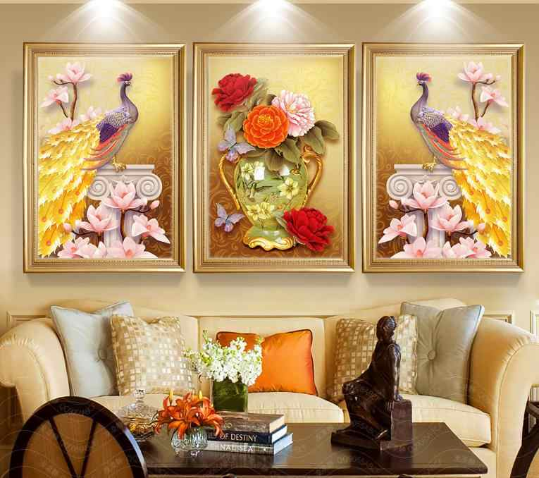 OKHOTCN Unframed 3 Pieces/Set Gorgeous Peacock Hibiscus Painting Wall Pictures For Living Room Decor Canvas Art Posters Prints