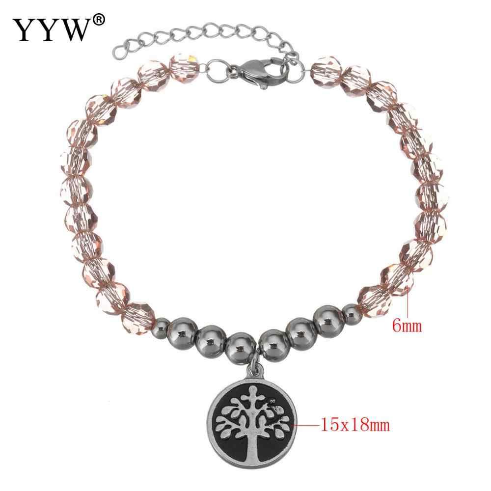 Trendy Bracelets Extender Link Unisex Jewelry Crystal Beads Original Color Round Tree Pendant Charming European style feminine