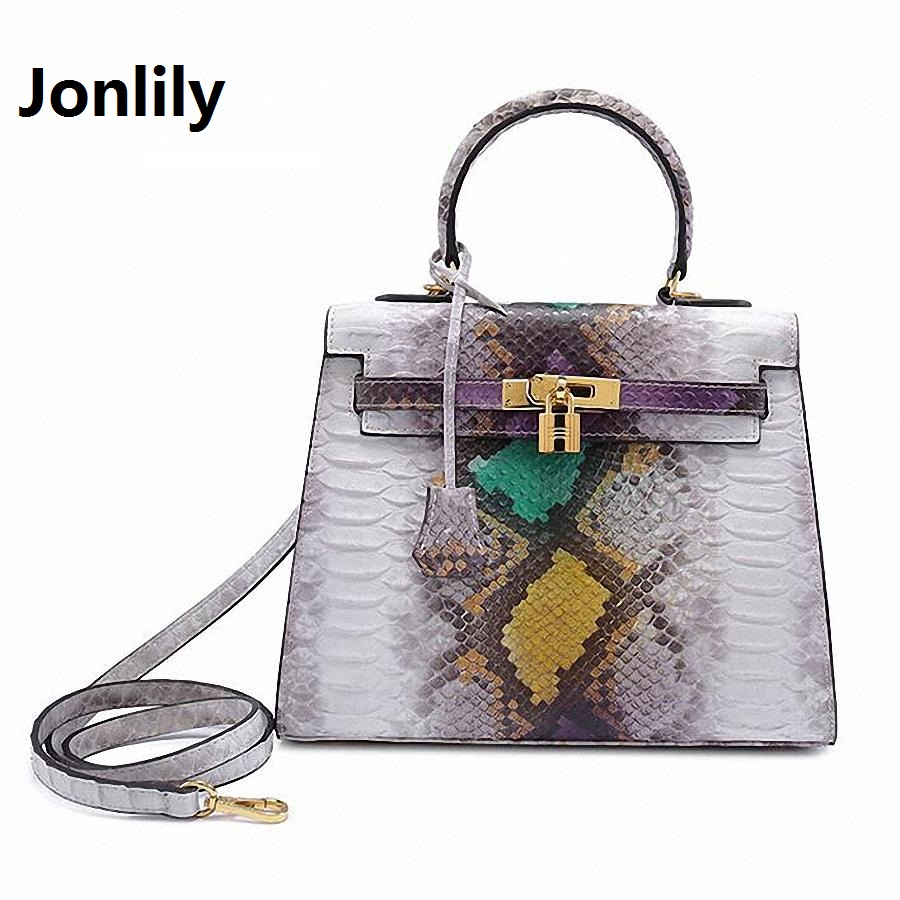 Jonlily Luxury Brand Genuine Leather Snake bags for women shoulder messenger bags casual tote hobos handbag with lock-SLI-166