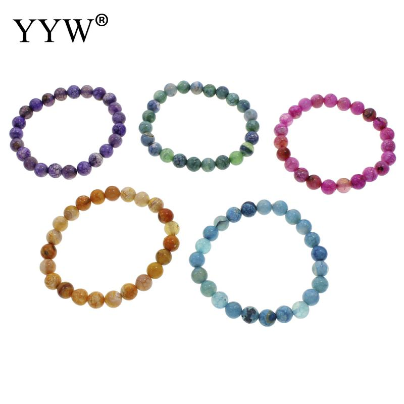 Bracelets & Bangles Yyw New Hot Natural Crackle Agata Stone Beaded Circle Elastic Bracelet Women Male Jewelry 6/8/10mm Round Ball Beads Bracelets Fashionable And Attractive Packages