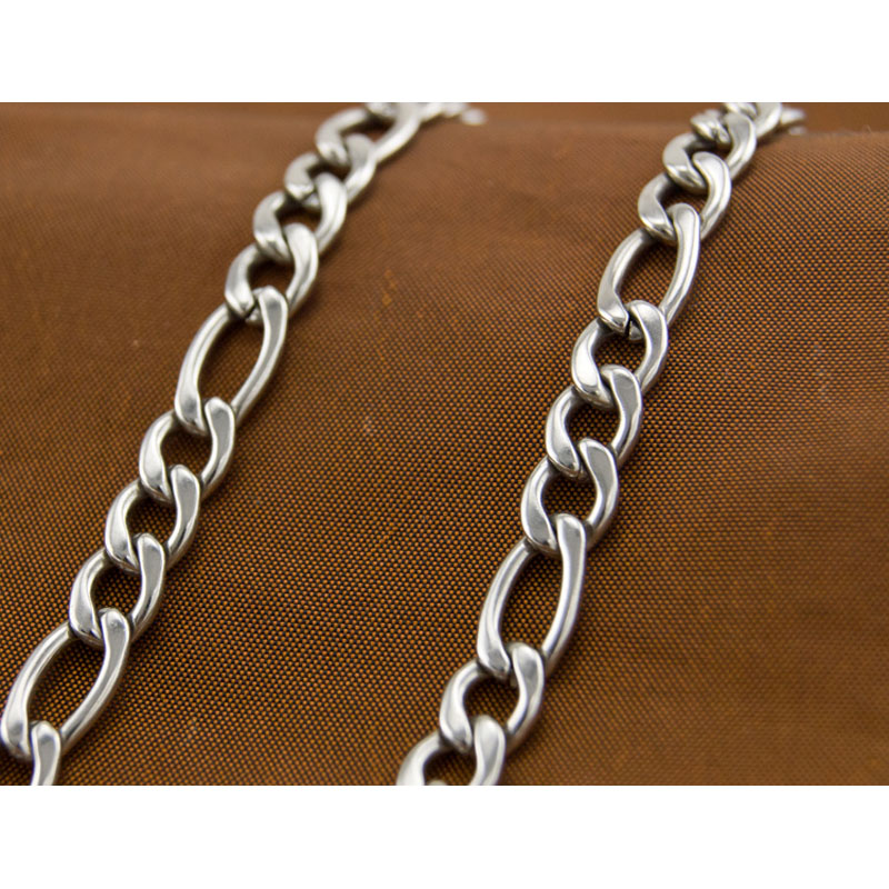 100meters in a roll figaro necklace silver 3mm Chains fittings FASHION Stainless Steel Necklace High Quality Wholesale 0.8 3:1
