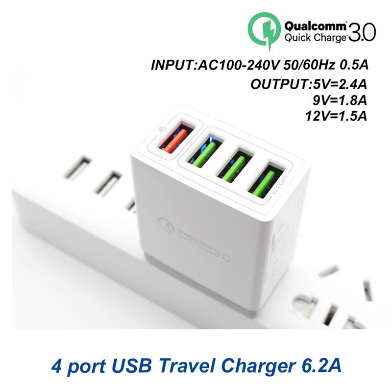 XEDAIN 4-Port Plug USB Charger EU/US Quick Charge 3.0 9V1.8A 12V1.5A 5V2.4A Fast Charging for Samsung Apple Mobile Phone Adapter
