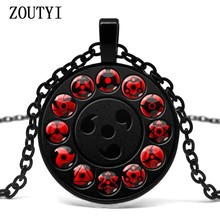 2018/ New Glass Naruto Shippuden Pendant Necklace Round Naruto Sharingan Eye Chain Necklace Vintage Ladies Jewelry.(China)