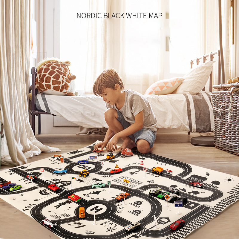 130*100CM DIY Car Parking Map Toys Play Baby MatDiecast Car Kids City Scene Taffic Highway Map Beach Mat Waterproof Mattress