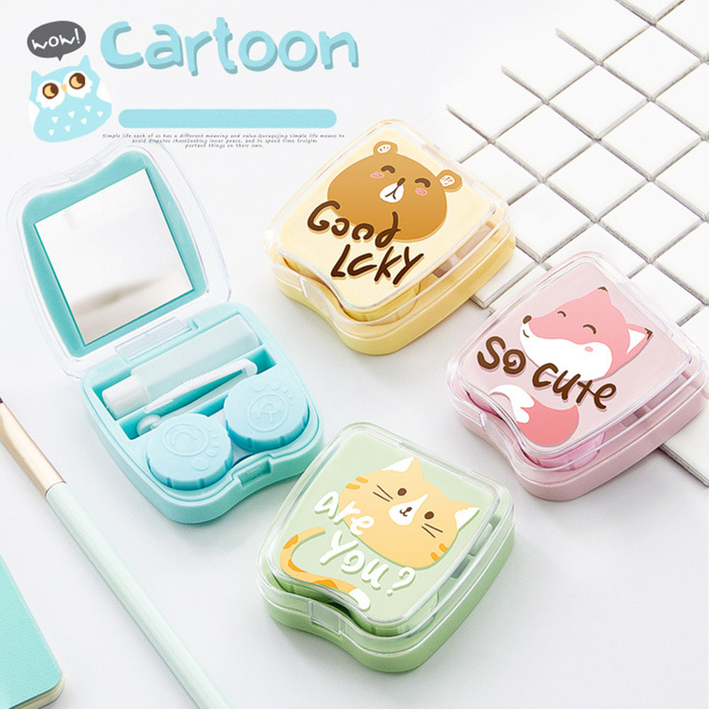 AudWhale Cartoon Lens Container With Mirror Portable Cute Contact Lens Case Square Women Contact Lens Container Case