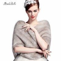 Stylish Winter Gray Wedding Shawl Bridal Bolero Warm Faux Fur Wedding Evening Party Dress Wraps Fur