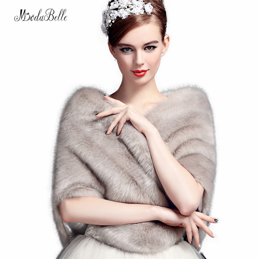 Stylish Winter Gray Wedding Shawl Bridal Bolero Warm Faux Fur Wedding Evening Party Dress Wraps Fur