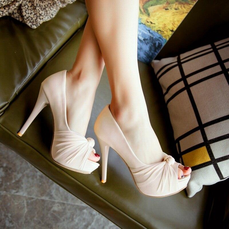 MORAZORA Hot sale new shoes woman pumps big size 33-43 platform shoes high heel 12cm wedding shoes elegant peep toe 5