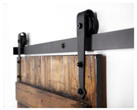 DIYHD 5FT 10FT Arrow Wheel Black Rustic Sliding Barn Rail Wood Door Track Hardware Kit