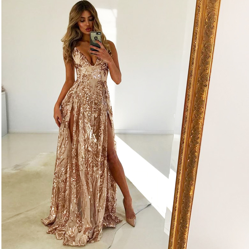 V Neck Gold Sequin Party Dress Padded Split Floor Length Lining Club Dress Open Back Backless Zipper Dress With Briefs