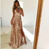 2019 NEW Padded V Neck Gold Sequin Party Dress Split Floor Length Lining Club Dress Open Back Backless Zipper Dress with Briefs