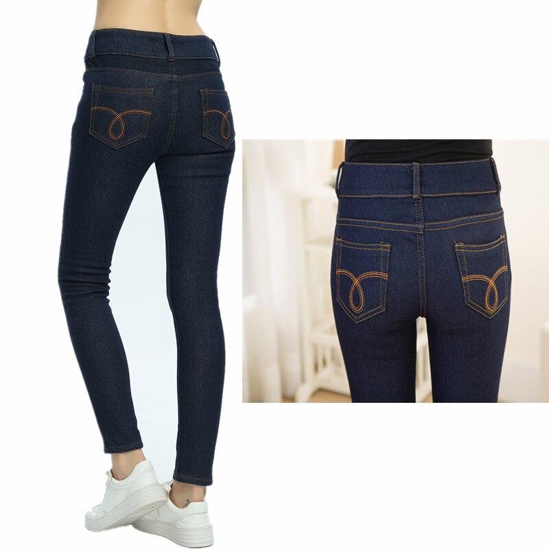 WKOUD 2019 Winter Jeans Women Gold Fleeces Inside Thickening Denim Pants High Waist Warm Trousers Female